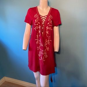 Lulus embroidered tie up dress